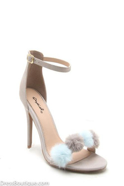 Light Grey Pom Pom Heels
