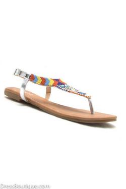 Silver Beaded Sandal