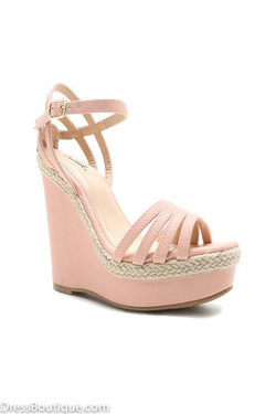 Blush Strappy Wedge Sandal