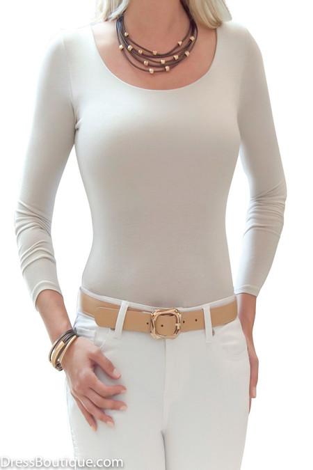 Beige Long Sleeve Tailored T-Shirt