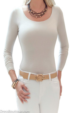Beige Long Sleeve Tailored T-Shirt