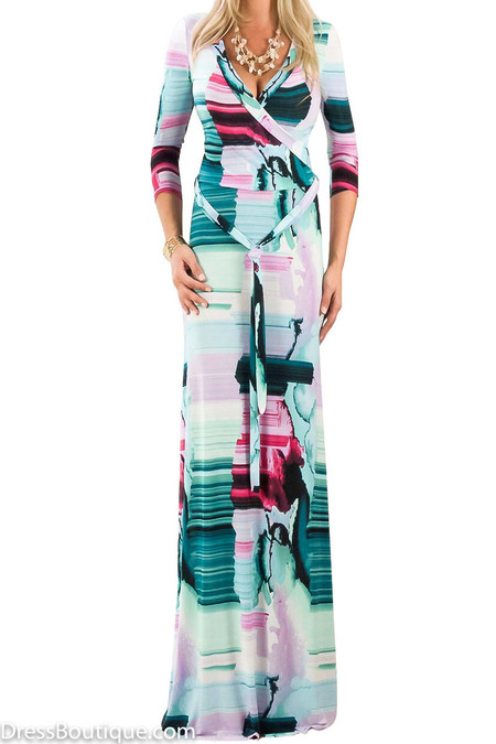 Tie Dye Maxi Wrap Dress