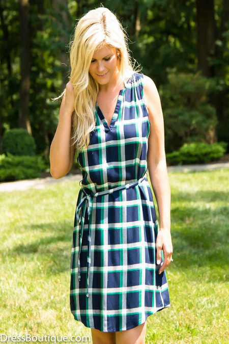 Navy Plaid Sleeveless Dress