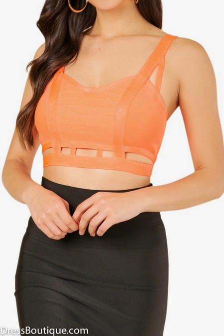Orange Caged Bandage Crop Top