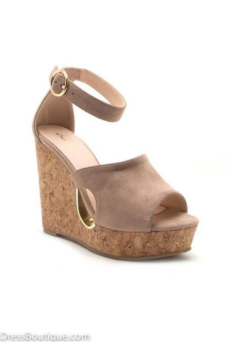 Tan Cut Out Wedge