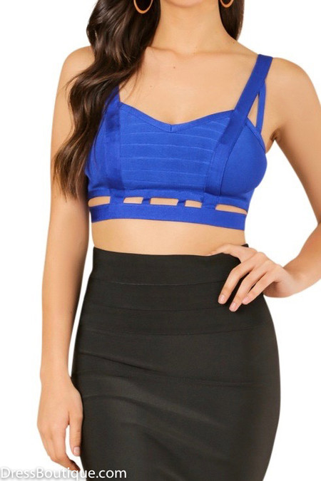 Royal Blue Caged Bandage Crop Top