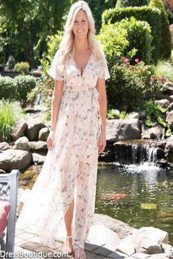 Blush Floral Maxi Wrap Dress