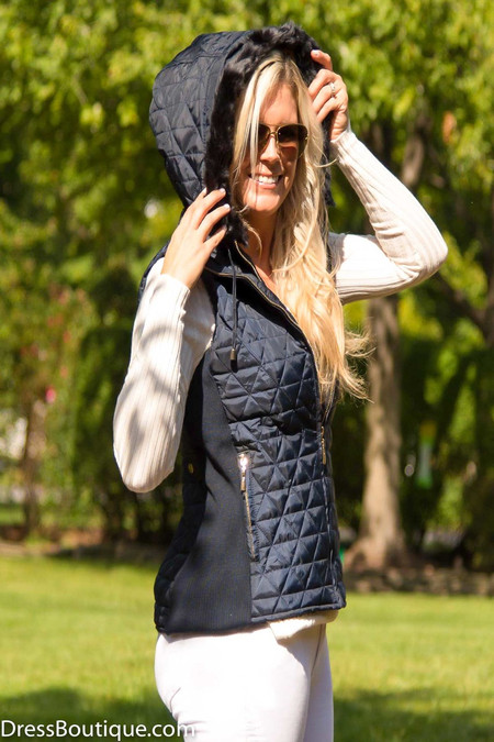 Navy Sleeveless Hooded Jacket/Vest