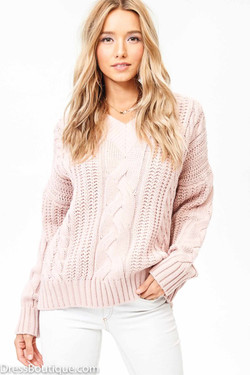 Blush Oversized Cable Knit V-Neck Sweater