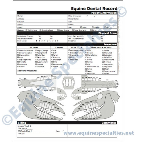 Equine Dental Record And Charts See 1 More Picture