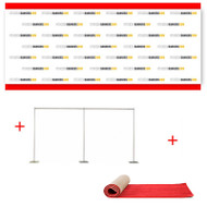 16' x 8' Fabric Step and Repeat Banner with Stand and 4' x 16' Red Carpet