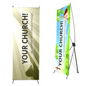 X-Banners! Perfect for  tradeshows; easy setup, amazing quality with your custom artwork!