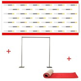 12' x 8' Fabric Step and Repeat Banner with Stand and 4' x 12' Red Carpet