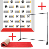 8' x 8' Fabric Step and Repeat Banner with Stand and 3' x 8' Carpet