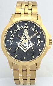 Gold Finish Masonic Watch Black Dial