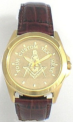 Leather Strap Masonic Watch Gold Dial
