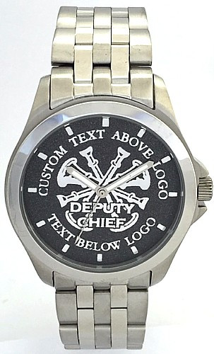 All Stainless Firefighter Watch Deputy Chief Black Dial