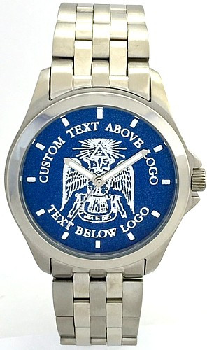 Gents' All Stainless Masonic Watch  32nd Degree Blue Dial