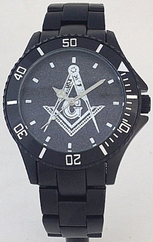 Masonic Square & Compass Watch Black Aluminum Black Dial