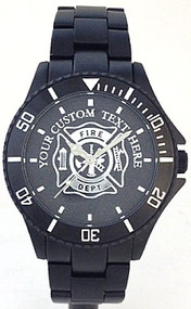 Custom Maltese Cross Firefighter Watch Black Aluminum Black Dial