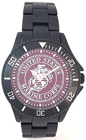 US Marine Corps Watch Black Aluminum Dark Red Medallion Dial/Silver Logo