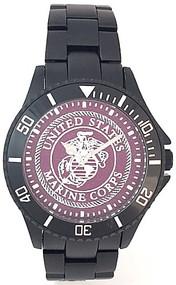 US Marine Corps Watch Black Aluminum Dark Red Medallion Dial/Silver Logo