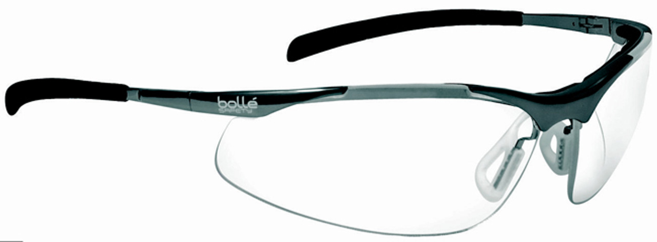 safety sunglasses  Bolle Contour Metal Safety Glasses with Silver Frame and Clear ...