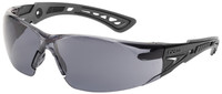 Bolle Rush Plus Safety Glasses with Black/Gray Temples and Smoke Lens with Platinum Anti-Fog