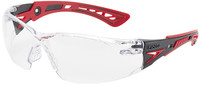 Bolle Rush Plus Safety Glasses with Black/Red Temples and Clear Lens with Platinum Anti-Fog