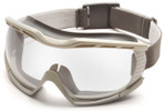Pyramex Capstone Ballistic Safety Goggles with Desert Tan Frame and Clear Anti-Fog Lens