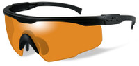 Wiley X PT-1 Ballistic Safety Glasses with Black Frame and Light Rust Lens