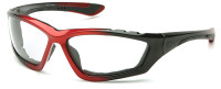 Pyramex Accurist Safety Glasses with Black/Red Frame and Clear Anti-Fog Lens