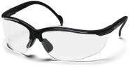 Pyramex Venture 2 Safety Glasses with Black Frame and Clear Lens