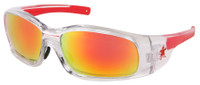 Crews Swagger Safety Glasses with Clear Frame and Fire Mirror Lens