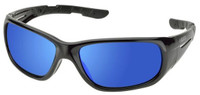 Elvex RSG100 Series Safety Glasses with Gloss Black Frame and Sky Blue Mirror Lens