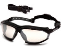 Pyramex Isotope Convertible Safety Glasses/Goggles with Black Frame and Indoor/Outdoor Anti-Fog Lens