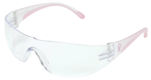 Bouton/PIP Eva Women's Bifocal Safety Glasses with Pink Temple Trim and Clear Anti-Fog Lens