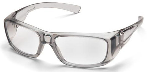 Pyramex Emerge Safety Glasses with Translucent Gray Frame and Clear Full Magnifying Lens