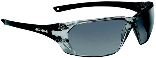 Bolle Prism Safety Glasses with Shiny Black Temples and Smoke Anti-Scratch and Anti-Fog Lens