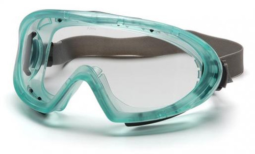 Pyramex Capstone Direct/Indirect Vent Goggles with Green Frame, Neoprene Strap and Clear Anti-Fog Lens