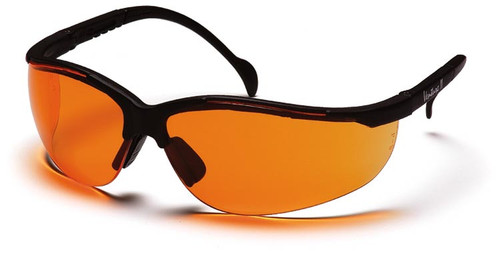 Pyramex Venture 2 Safety Glasses with Black Frame and Orange Lens