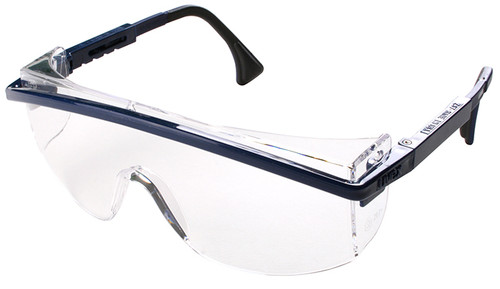 Uvex Astrospec 3000 Safety Glasses with Blue Frame/Duoflex Temples and Clear XTR Anti-Fog Lens