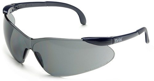 Elvex Trix Safety Glasses with Navy Temples and Gray Lens