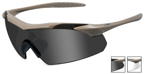 Wiley X Vapor Safety Sunglasses with Matte Tan Frame and Grey and Clear Lenses