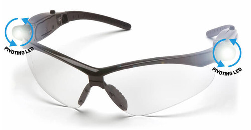 Pyramex PMXtreme LED Safety Glasses with Black Frame and Clear Anti-Fog Lens
