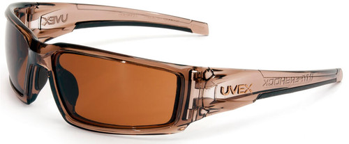 Uvex Hypershock Safety Glasses with Smoke Brown Frame and Espresso Hydroshield Anti-Fog Lens