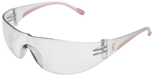Bouton/PIP Eva Women's Safety Glasses with Pink Temple Trim and Clear Anti-Fog Lens