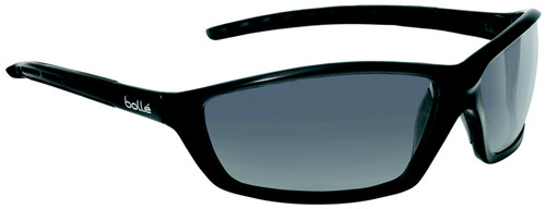 Bolle Solis Safety Glasses with Shiny Black Frame and Smoke Anti-Scratch and Anti-Fog Lenses