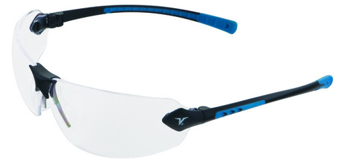 Encon Veratti 429 Safety Glasses with Blue Temple Accent and Clear Lens