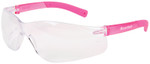 Crews Bearkat Small Safety Glasses with Pink Temples and Clear Lenses